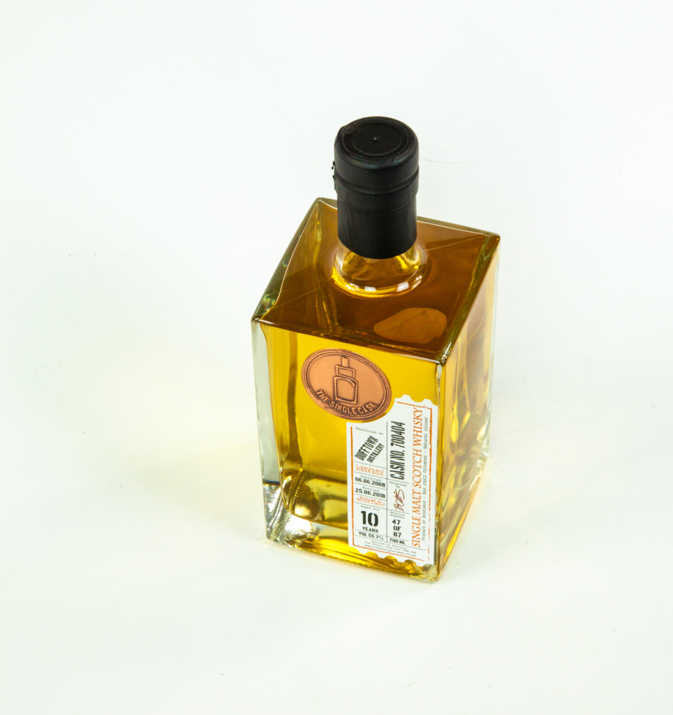 top view of labelled gin bottle