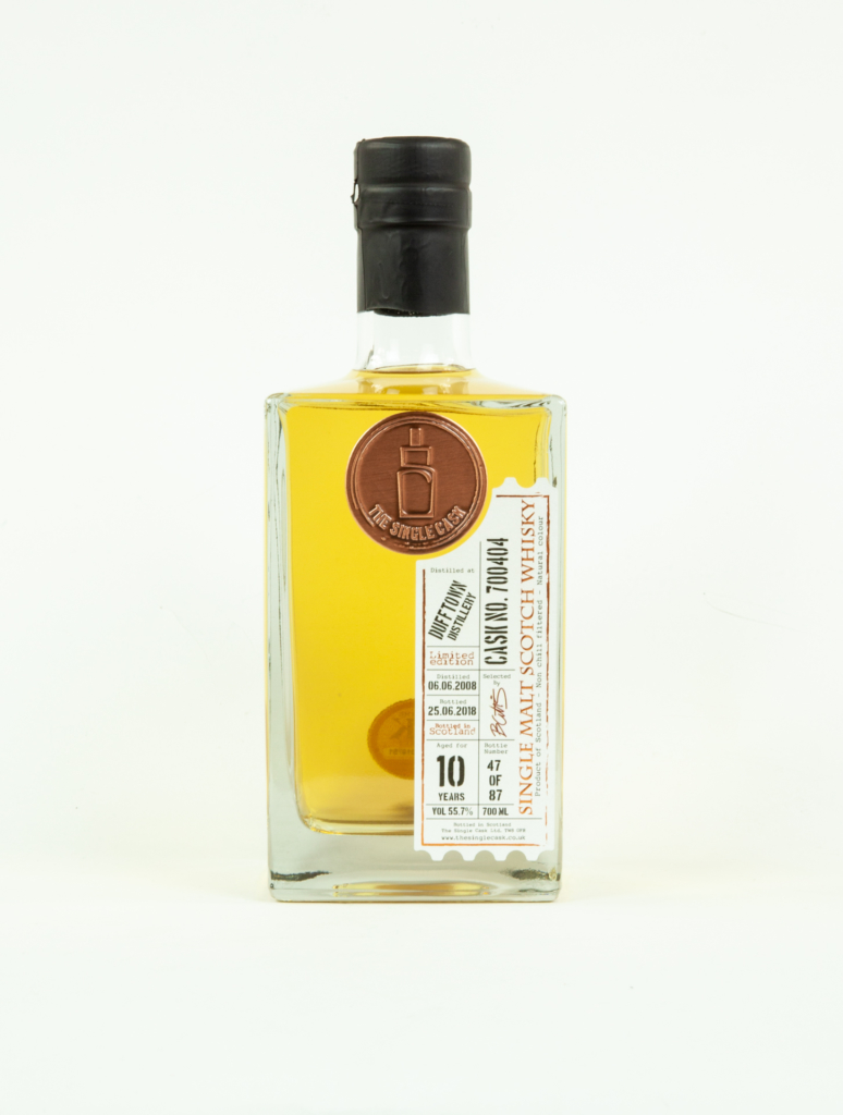 Labelled bottle of gin