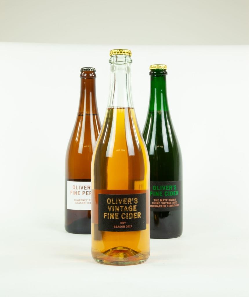 Labelled wine bottles