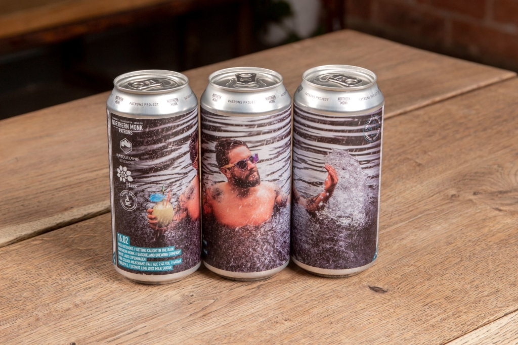 Three cans with label to create picture