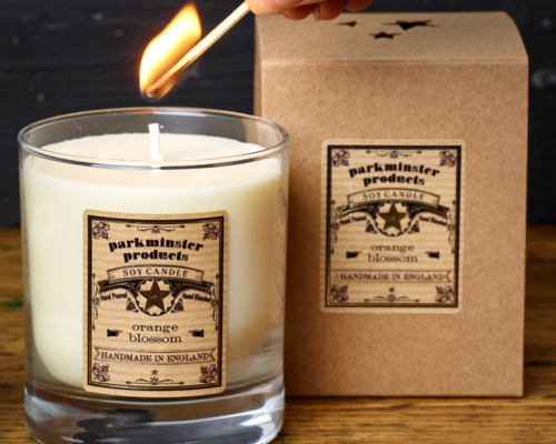 Large Votive Scented Candle Parkminster Products Lit with label