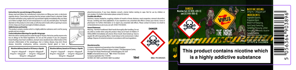 CS Labels PHOENIX46 Horde 20mg Salt 1 Vape Labels