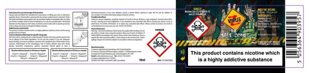 CS Labels PHOENIX46 Safe Zone 20MG Salt 1 Vape Labels